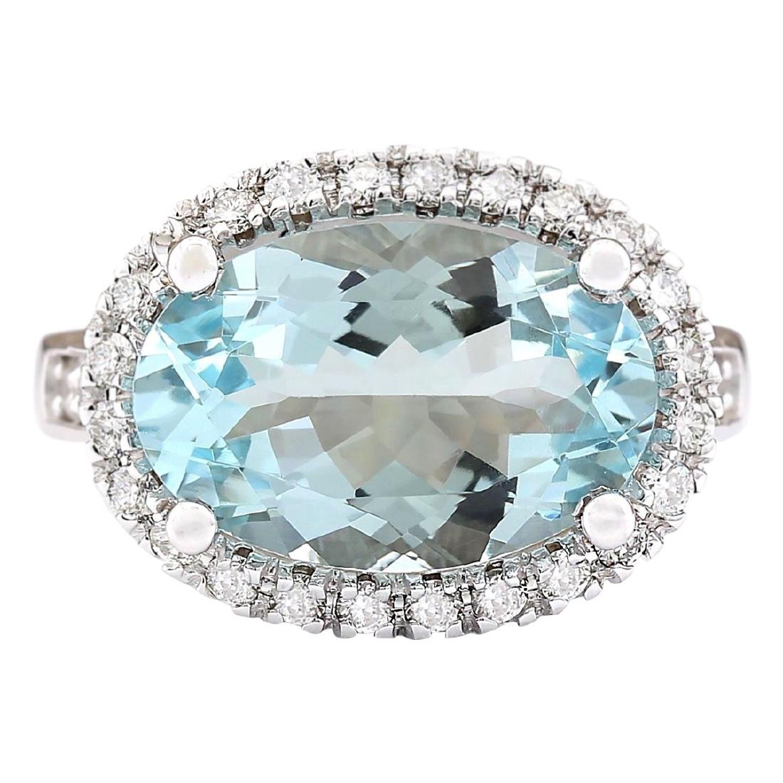 6.04 CTW Natural Aquamarine And Diamond Ring In 18K