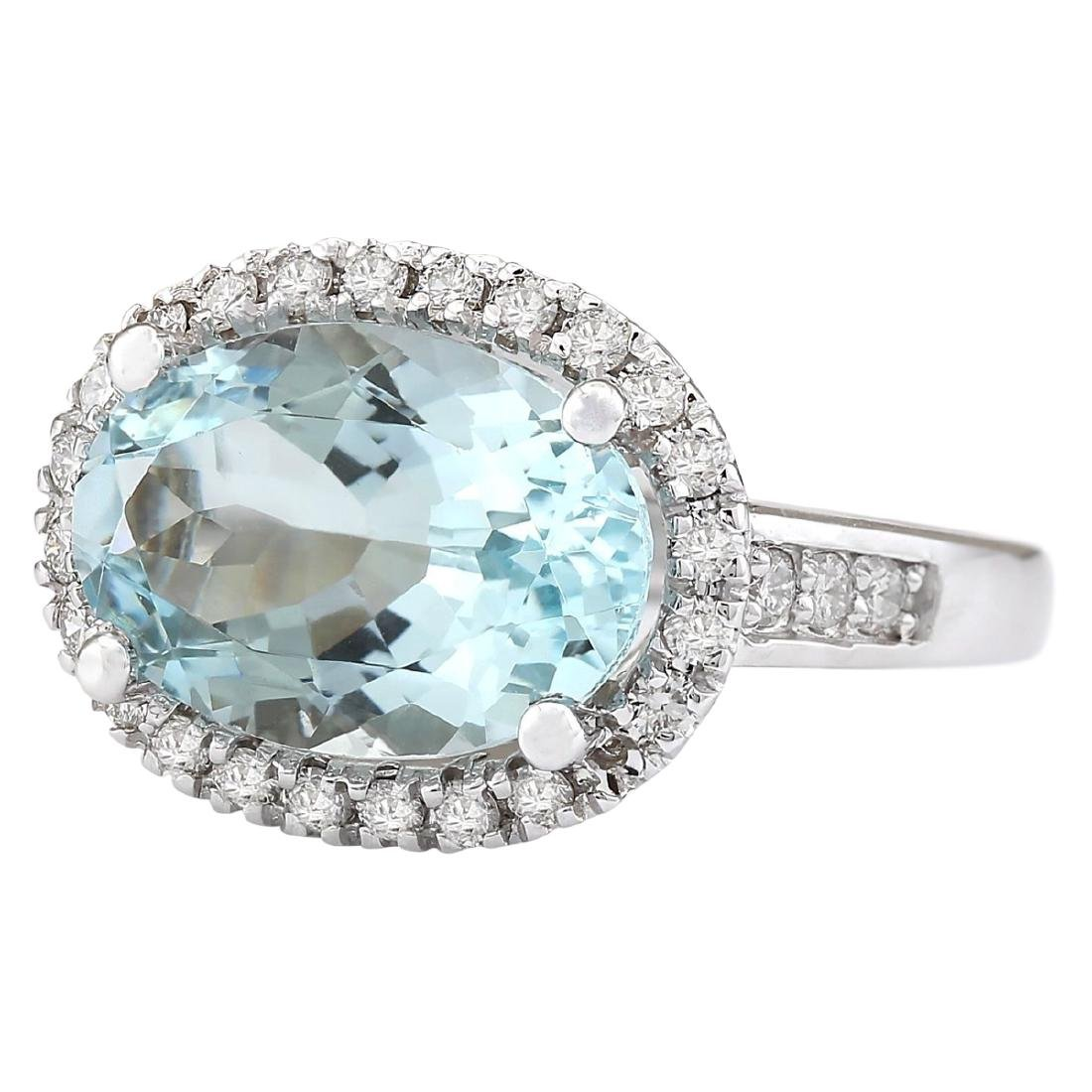 6.04 CTW Natural Aquamarine And Diamond Ring In 18K - 2