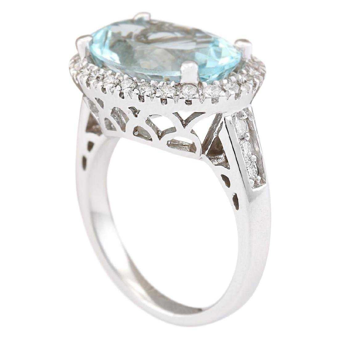 6.04 CTW Natural Aquamarine And Diamond Ring In 18K - 3