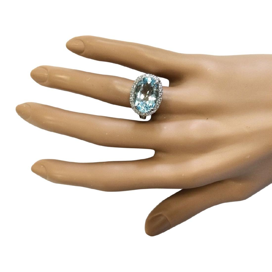 6.04 CTW Natural Aquamarine And Diamond Ring In 18K - 4