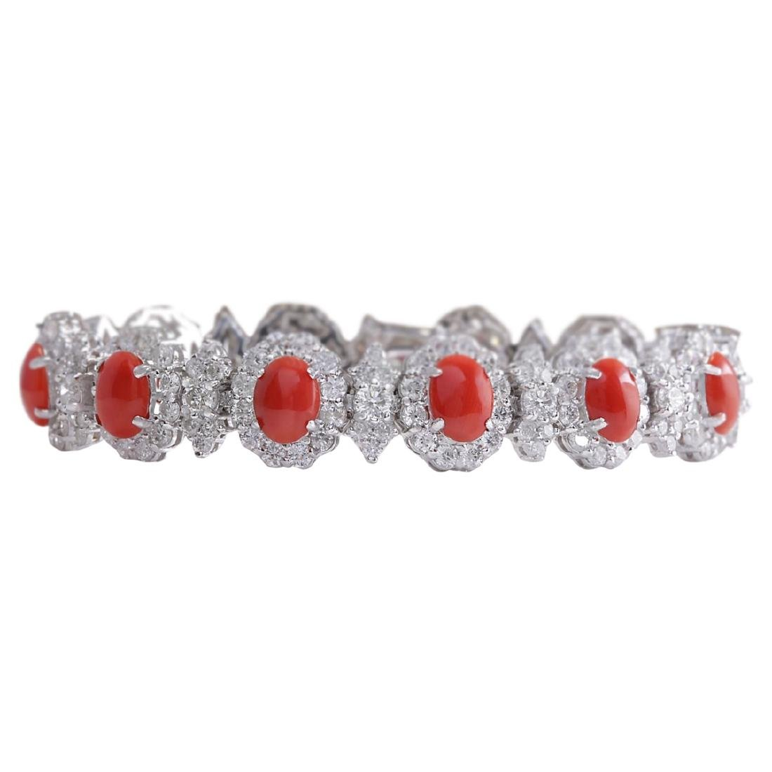 18.77 CTW Natural Red Coral And Dimond Bracelet In 18K