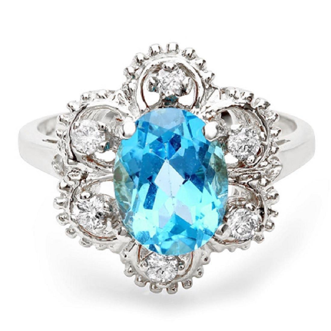 2.45 Carat Natural Topaz 18K Solid White Gold Diamond
