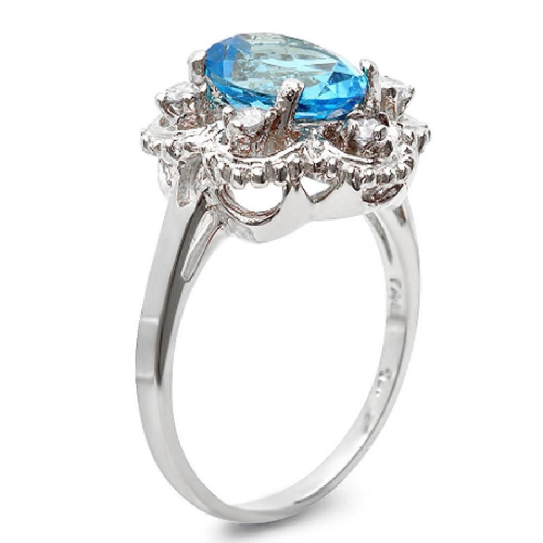 2.45 Carat Natural Topaz 18K Solid White Gold Diamond - 2