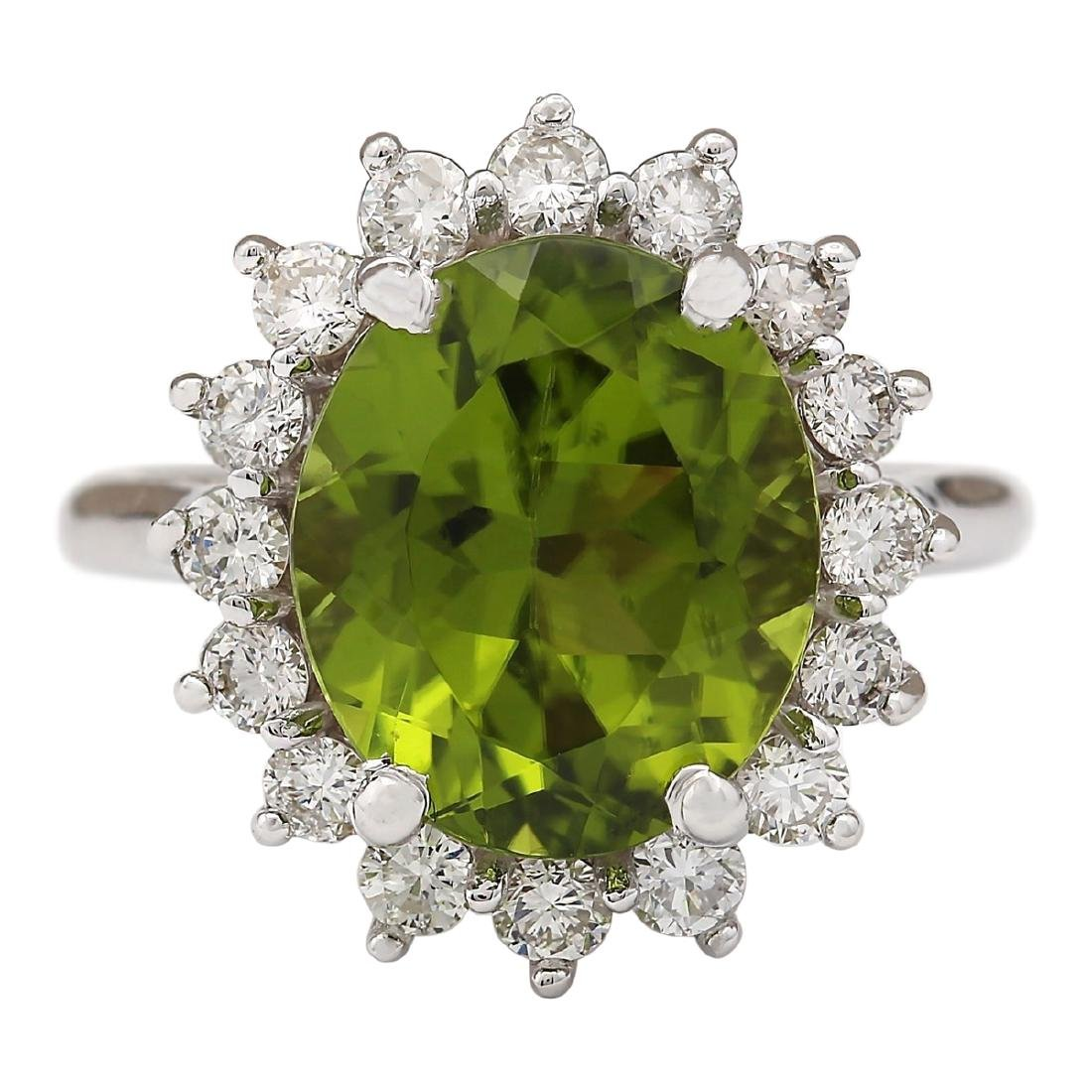 7.60 CTW Natural Peridot And Diamond Ring In 18K White
