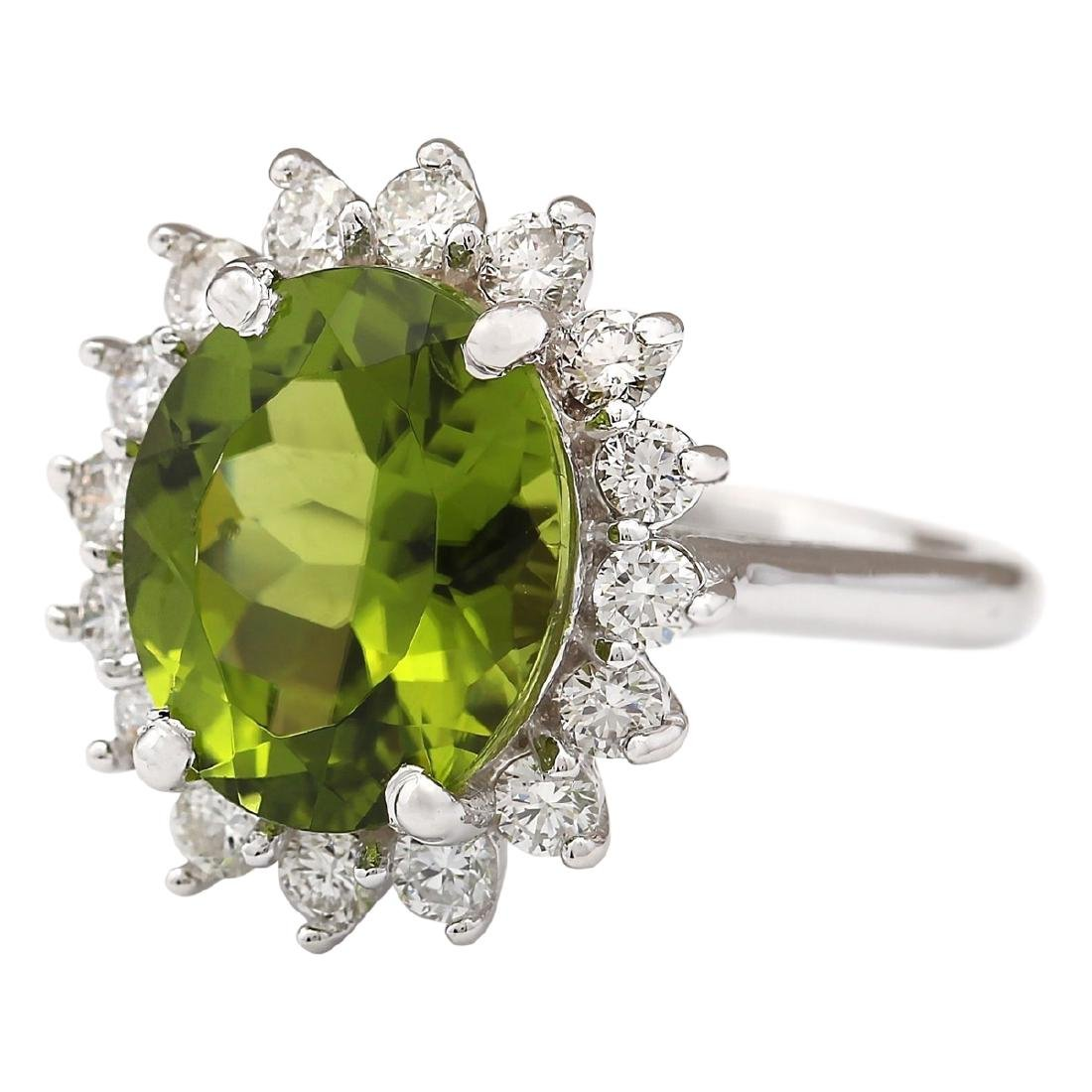 7.60 CTW Natural Peridot And Diamond Ring In 18K White - 2