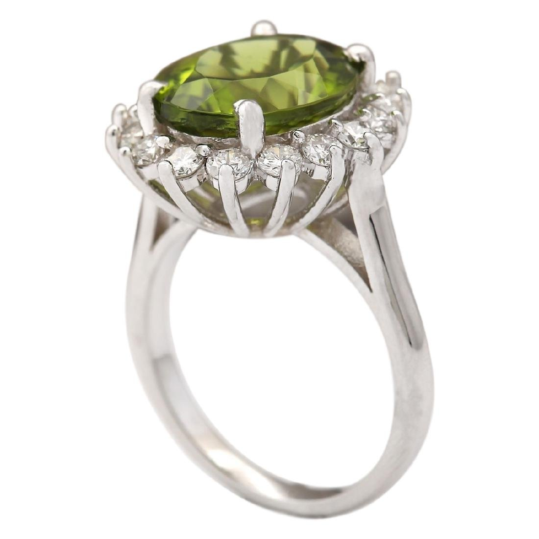 7.60 CTW Natural Peridot And Diamond Ring In 18K White - 3