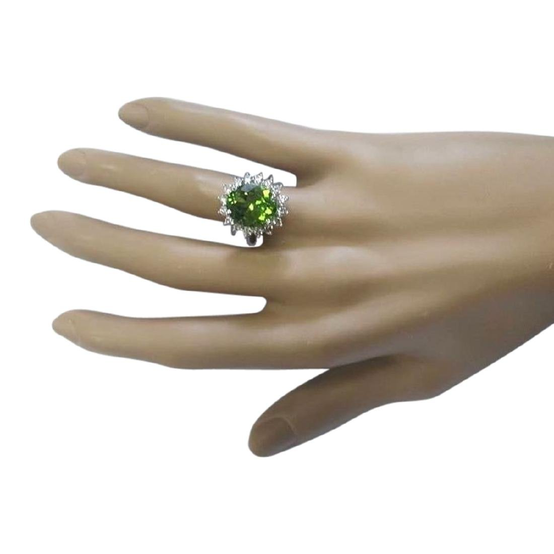 7.60 CTW Natural Peridot And Diamond Ring In 18K White - 4