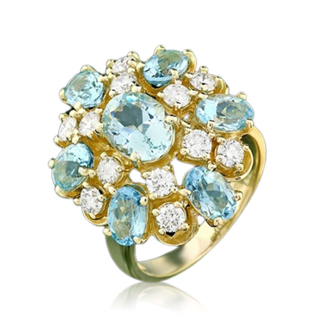 4.66 Carat Natural Aquamarine 18K Solid Yellow Gold