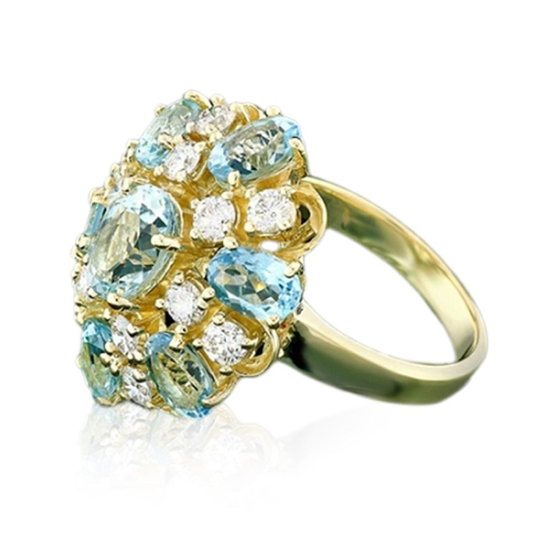 4.66 Carat Natural Aquamarine 18K Solid Yellow Gold - 2