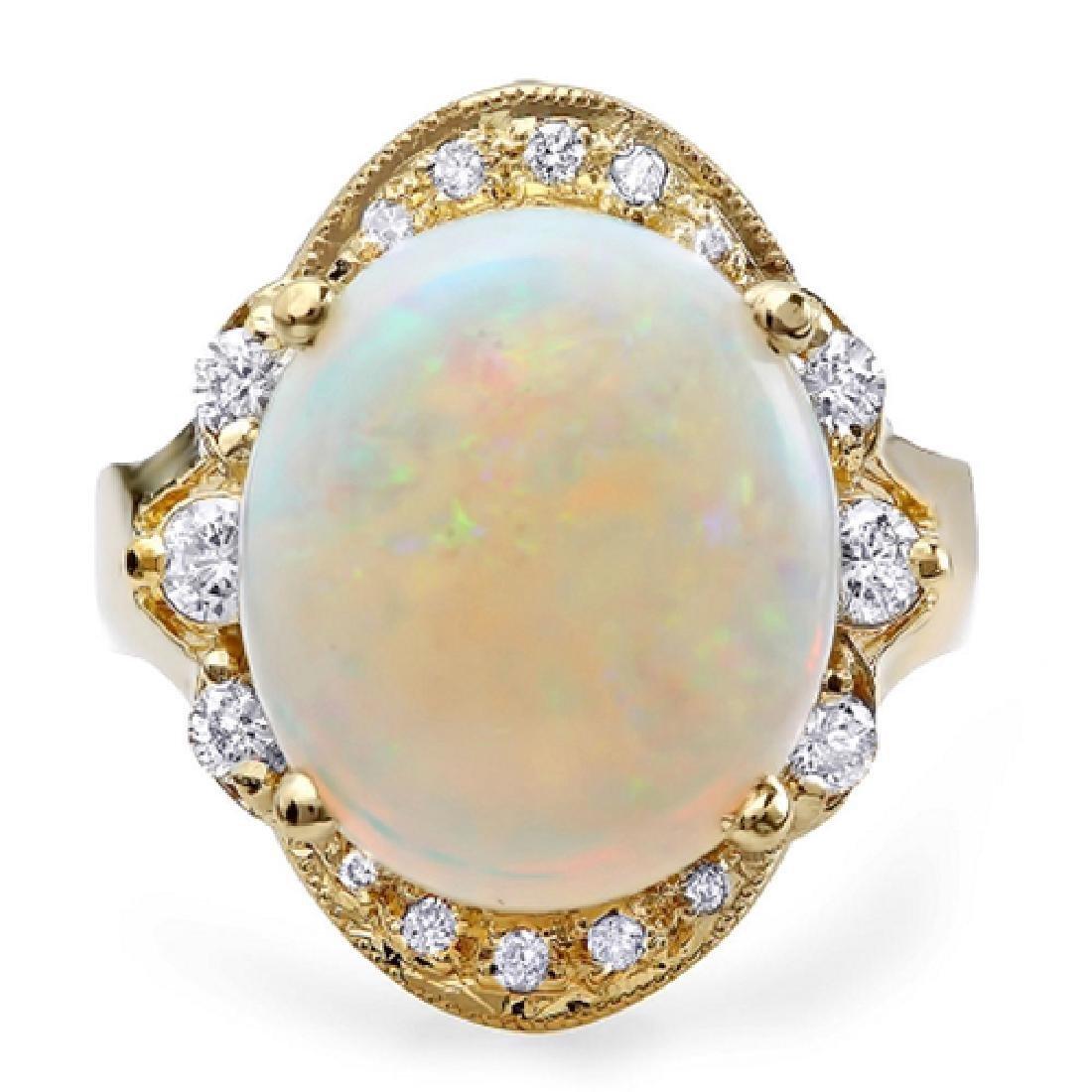 5.43 Carat Natural Opal 18K Solid Yellow Gold Diamond