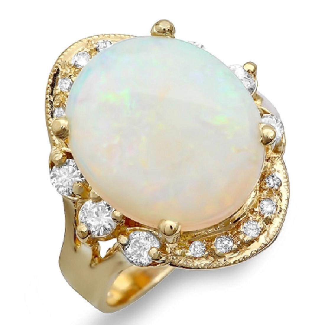 5.43 Carat Natural Opal 18K Solid Yellow Gold Diamond - 2