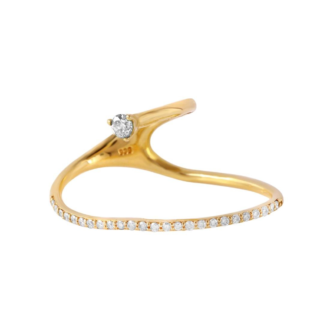 0.25 Carat Natural Diamond 18K Solid Yellow Gold Ring - 2