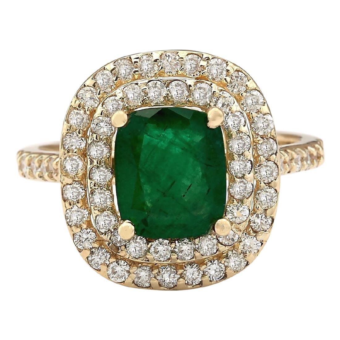 2.88 CTW Natural Emerald And Diamond Ring In 18K Yellow