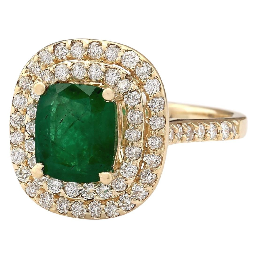 2.88 CTW Natural Emerald And Diamond Ring In 18K Yellow - 2