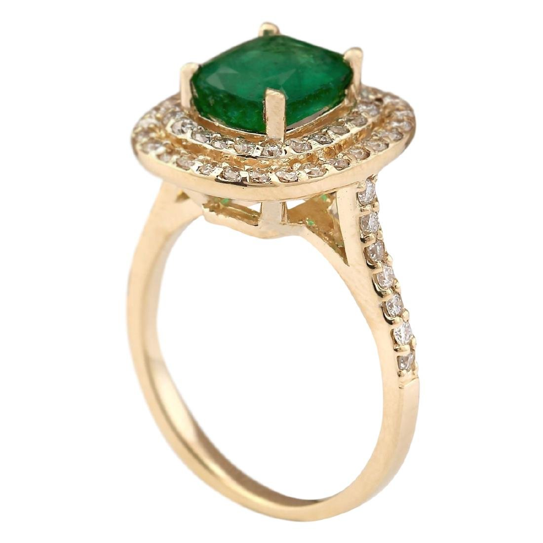 2.88 CTW Natural Emerald And Diamond Ring In 18K Yellow - 3