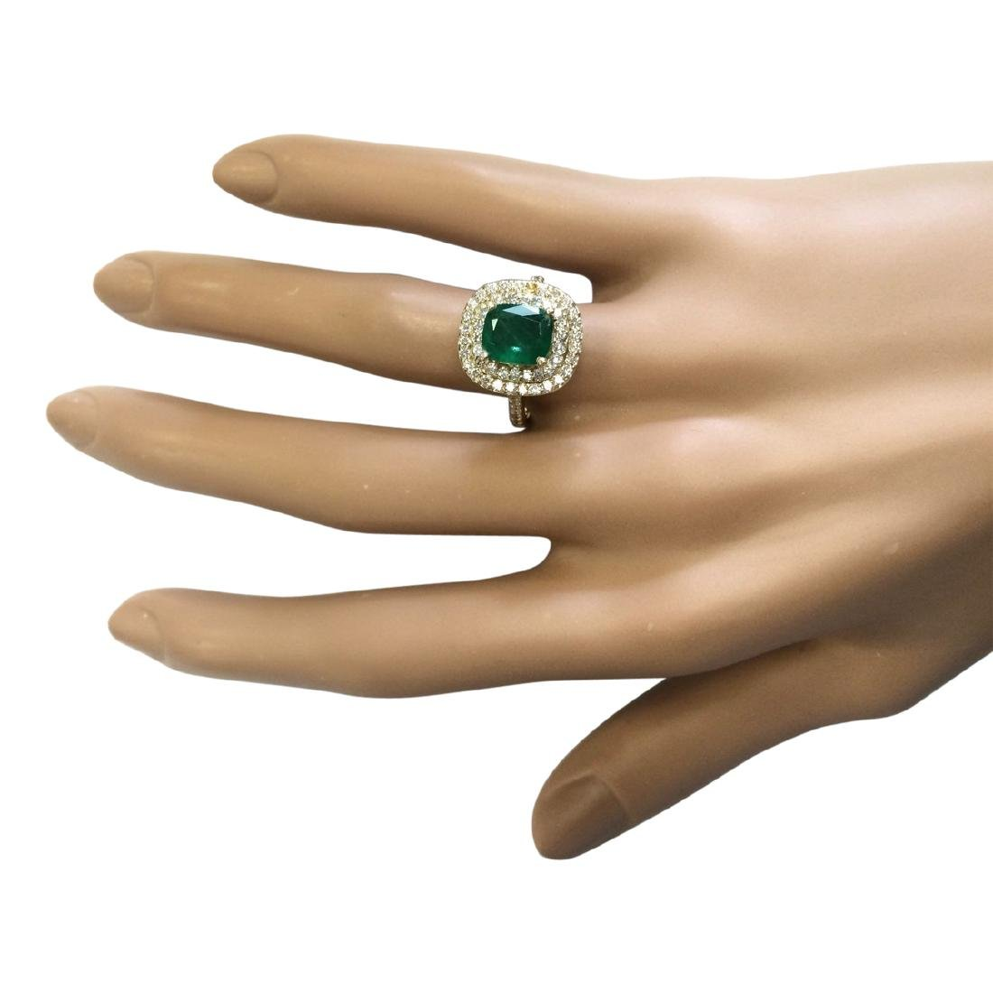 2.88 CTW Natural Emerald And Diamond Ring In 18K Yellow - 4