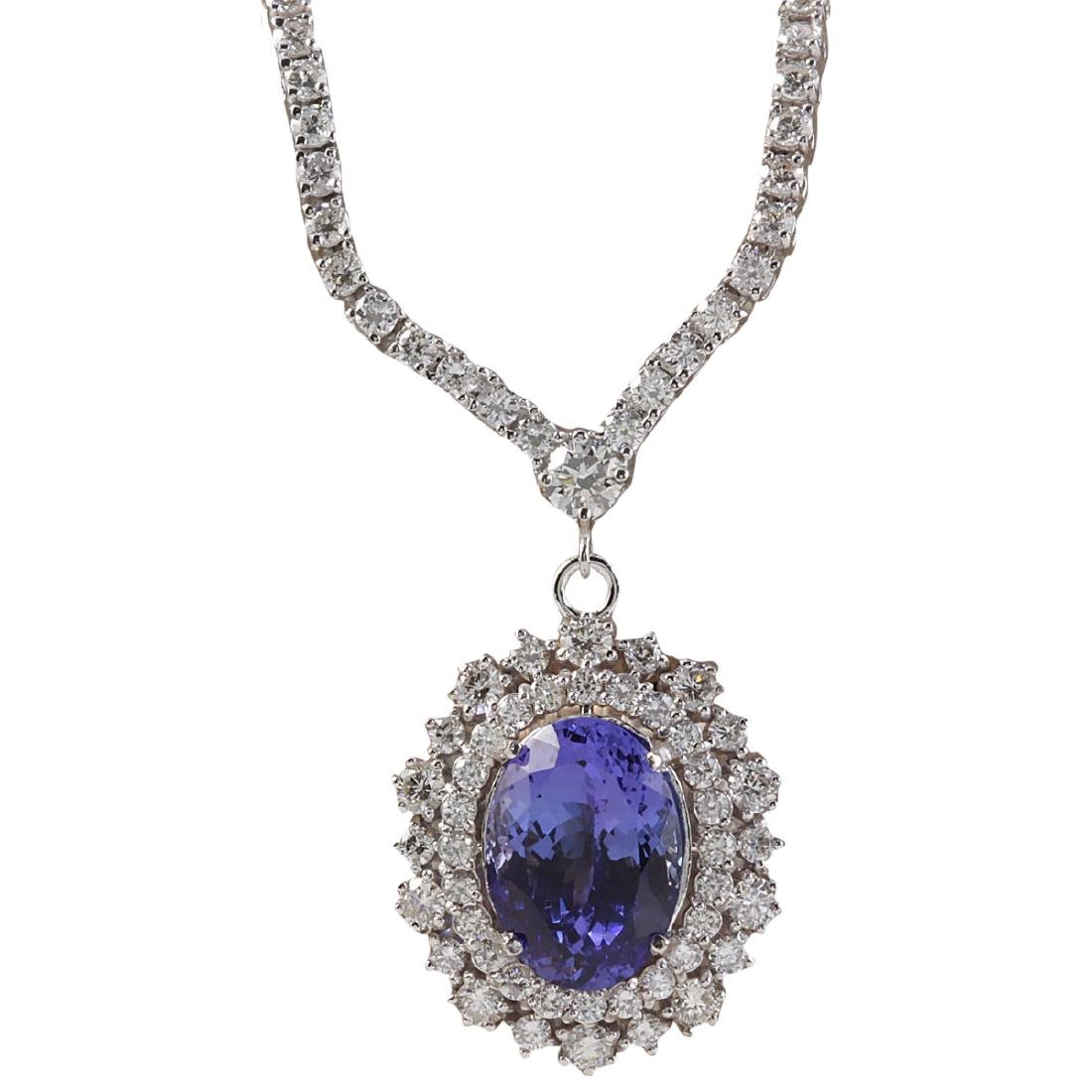 10.28 CTW Natural Tanzanite And Diamond Necklace In 18K
