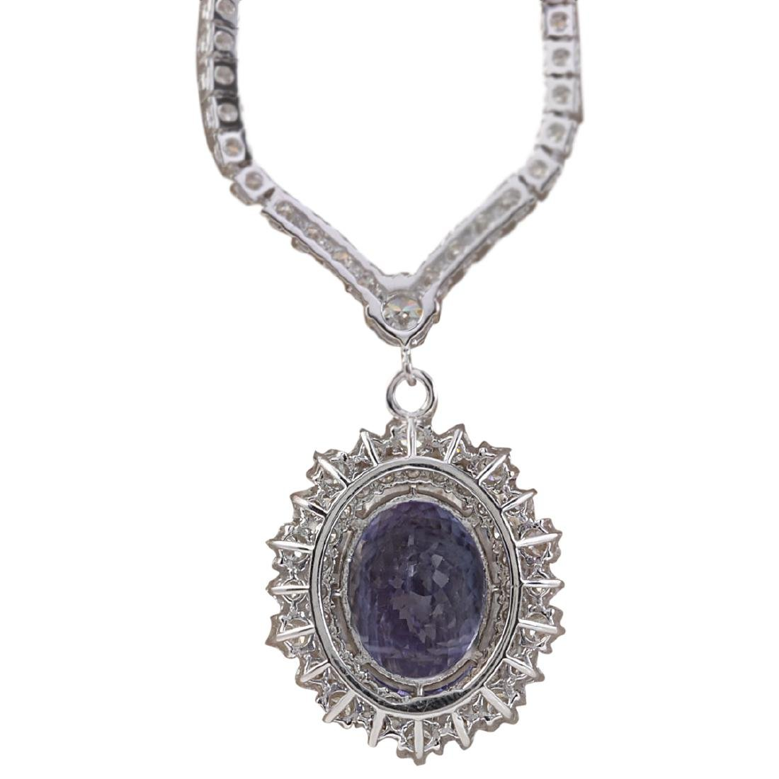 10.28 CTW Natural Tanzanite And Diamond Necklace In 18K - 2