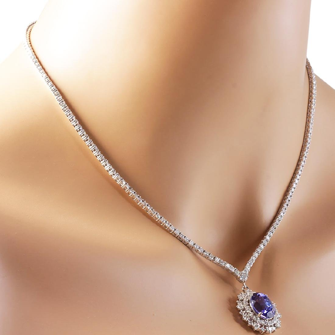 10.28 CTW Natural Tanzanite And Diamond Necklace In 18K - 4