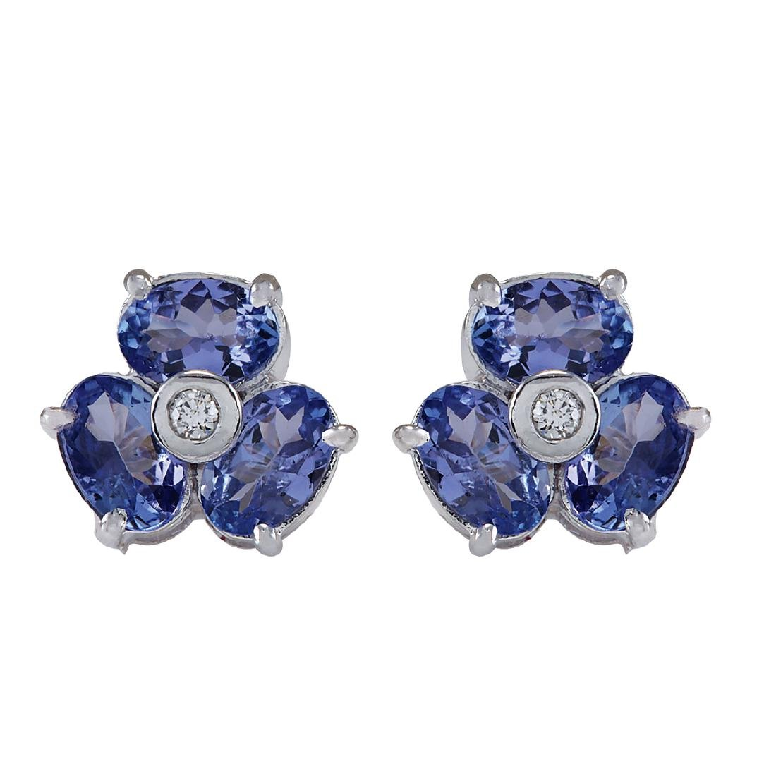 3.08CTW Natural Tanzanite And Diamond Earrings 18K