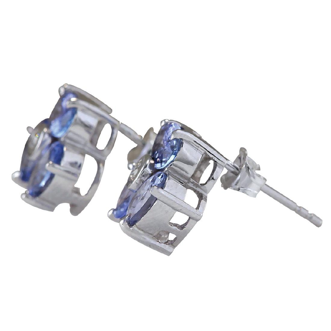 3.08CTW Natural Tanzanite And Diamond Earrings 18K - 2