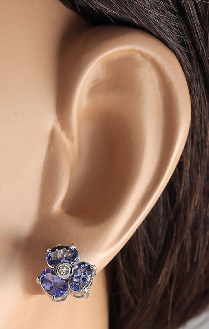 3.08CTW Natural Tanzanite And Diamond Earrings 18K - 3