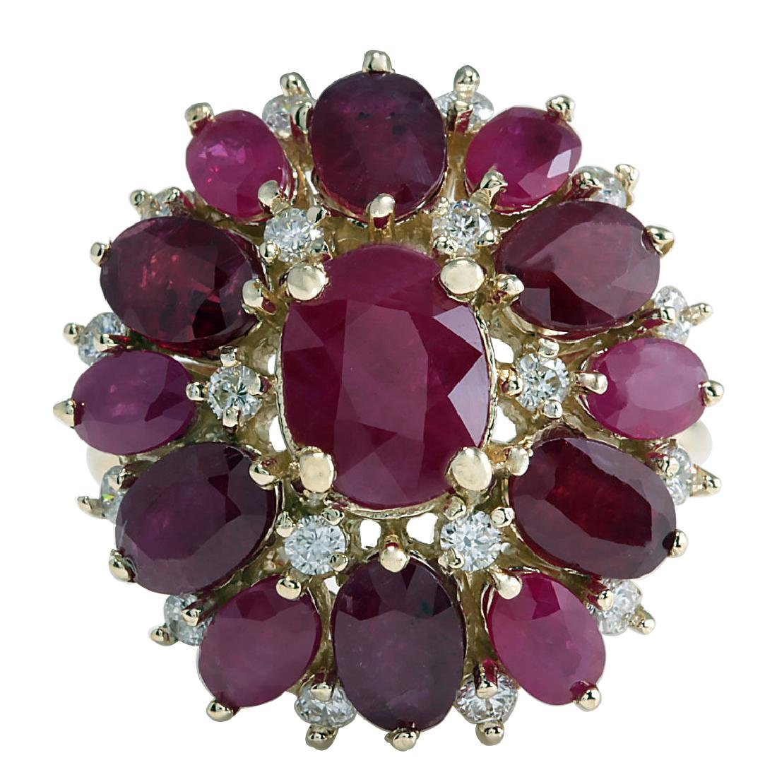 7.72CTW Natural Red Ruby And Diamond Ring 18K Solid