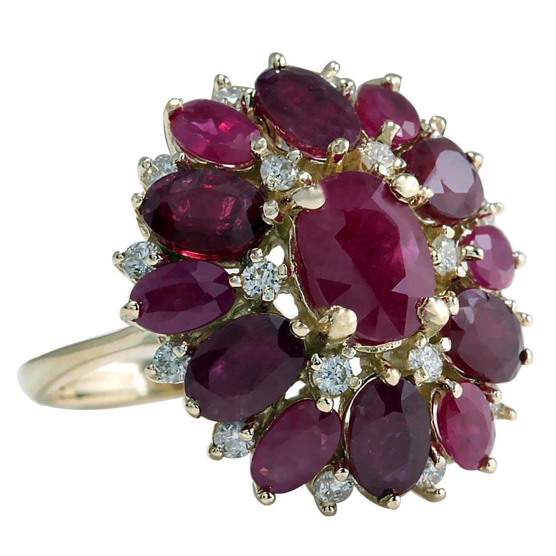 7.72CTW Natural Red Ruby And Diamond Ring 18K Solid - 2