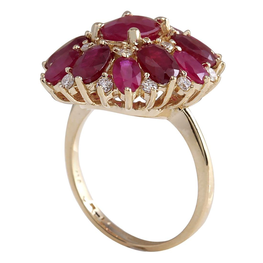 7.72CTW Natural Red Ruby And Diamond Ring 18K Solid - 3