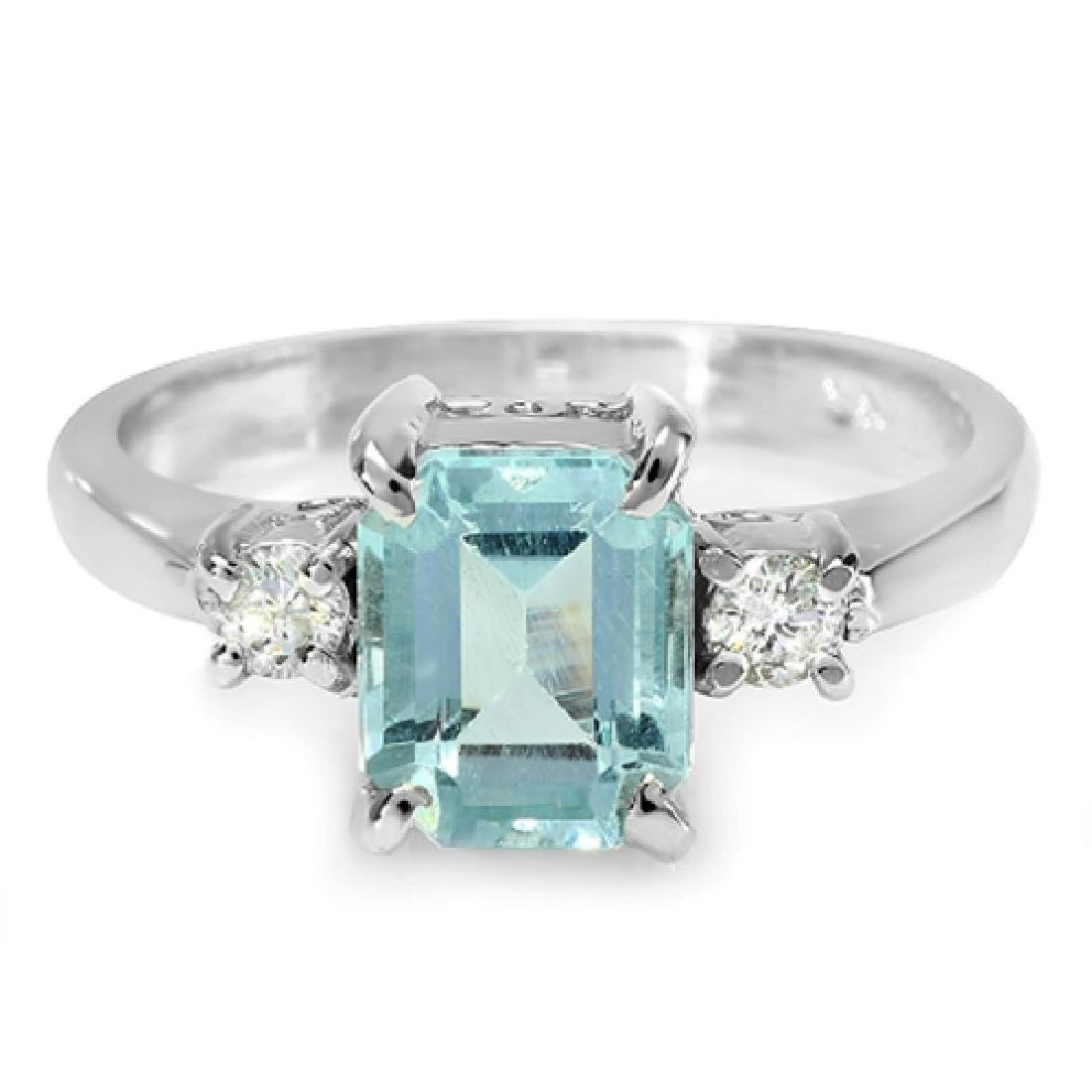 2.10 Carat Natural Aquamarine 18K Solid White Gold