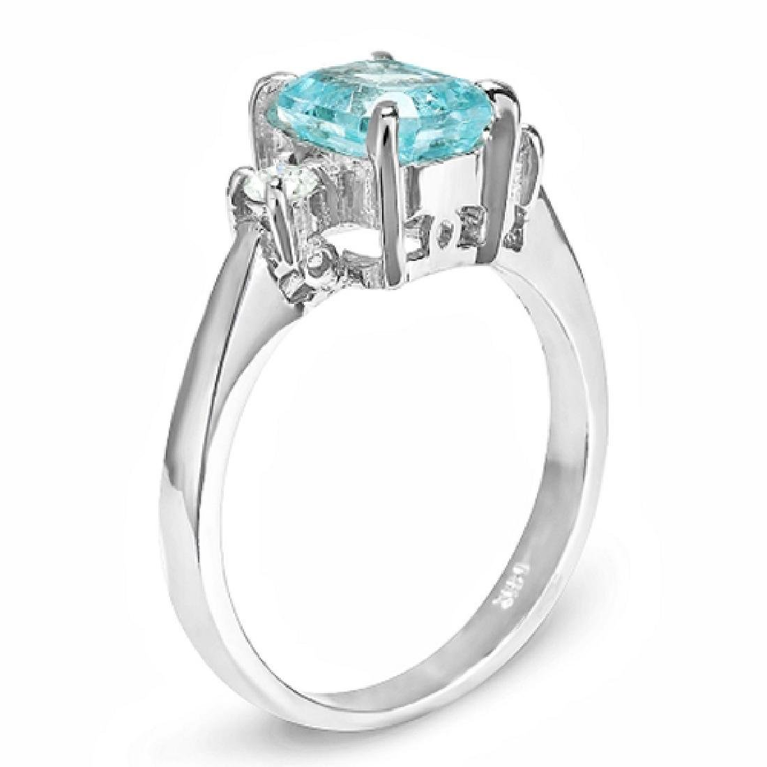2.10 Carat Natural Aquamarine 18K Solid White Gold - 2