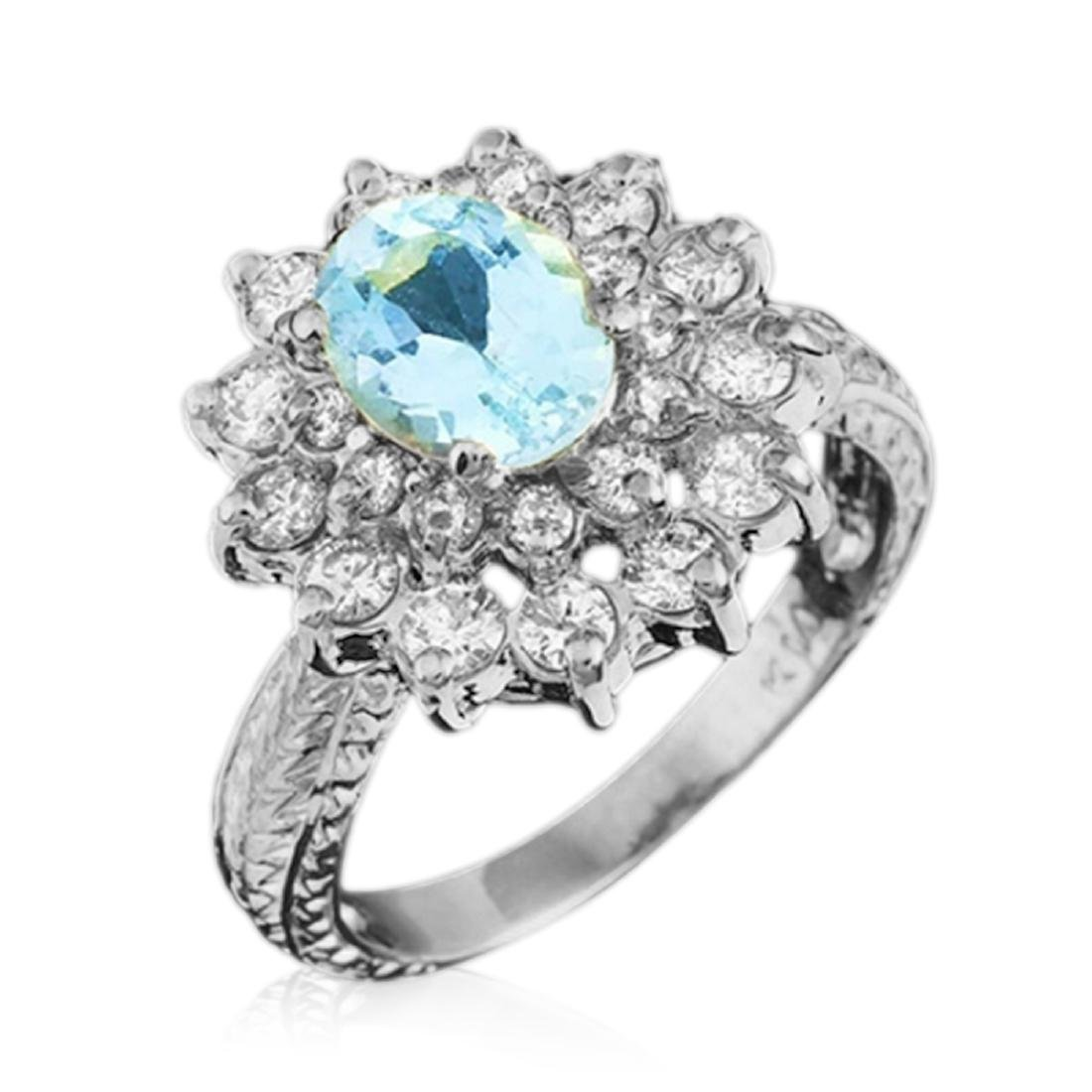 2.40 Carat Natural Aquamarine 18K Solid White Gold