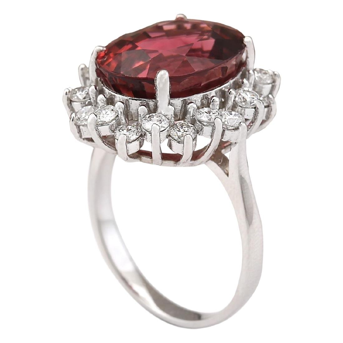 9.85 CTW Natural Pink Tourmaline And Diamond Ring 18K - 3