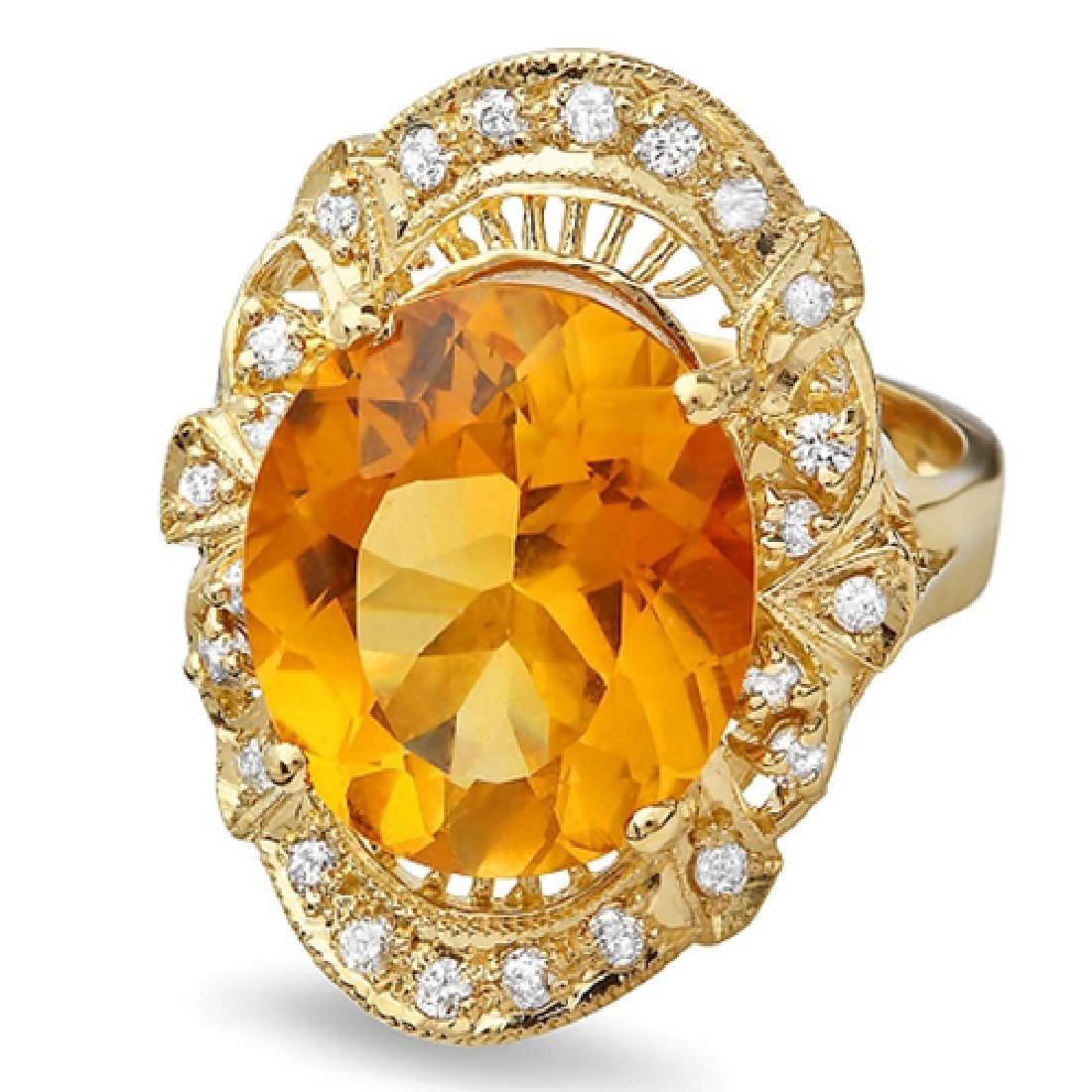 6.84 Carat Natural Citrine 18K Solid Yellow Gold