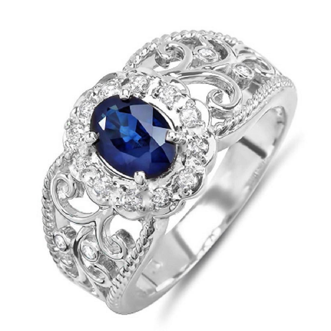 1.20 Carat Natural Tanzanite 18K Solid White Gold