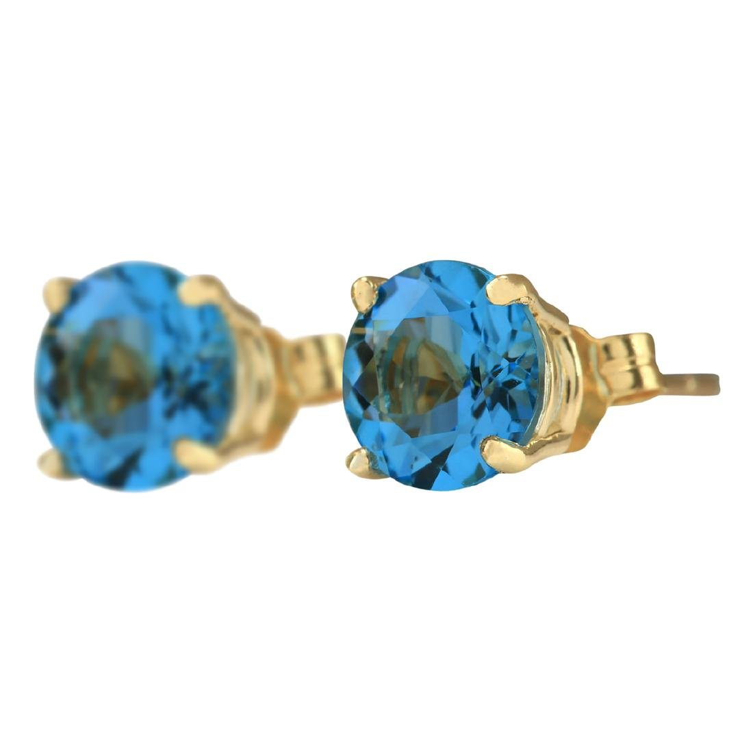 3.00 CTW Natural Blue Topaz Earrings 18K Solid Yellow - 2