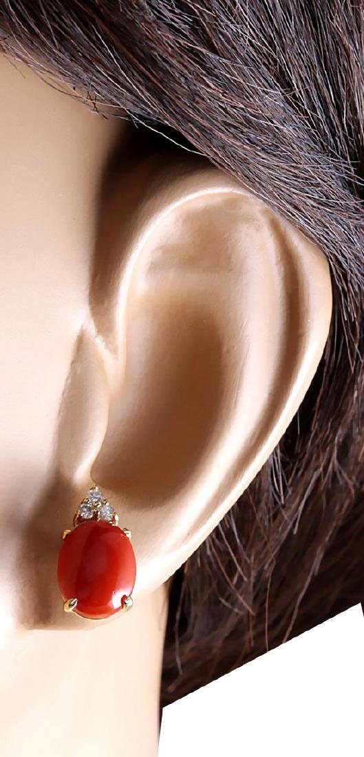 4.34CTW Natural Red Coral And Diamond Earrings 18K - 3