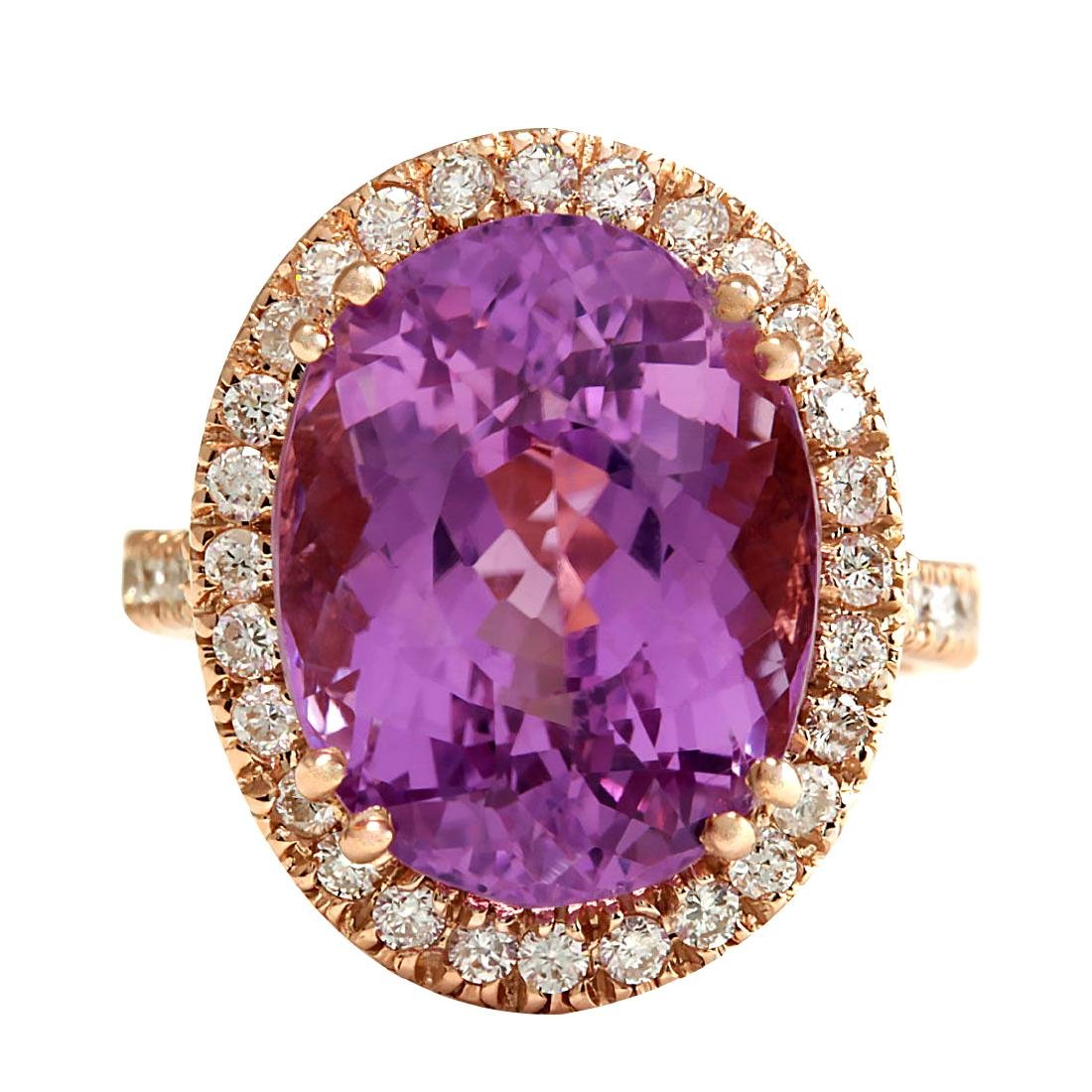 17.68CTW Natural Kunzite And Diamond Ring 18K Solid