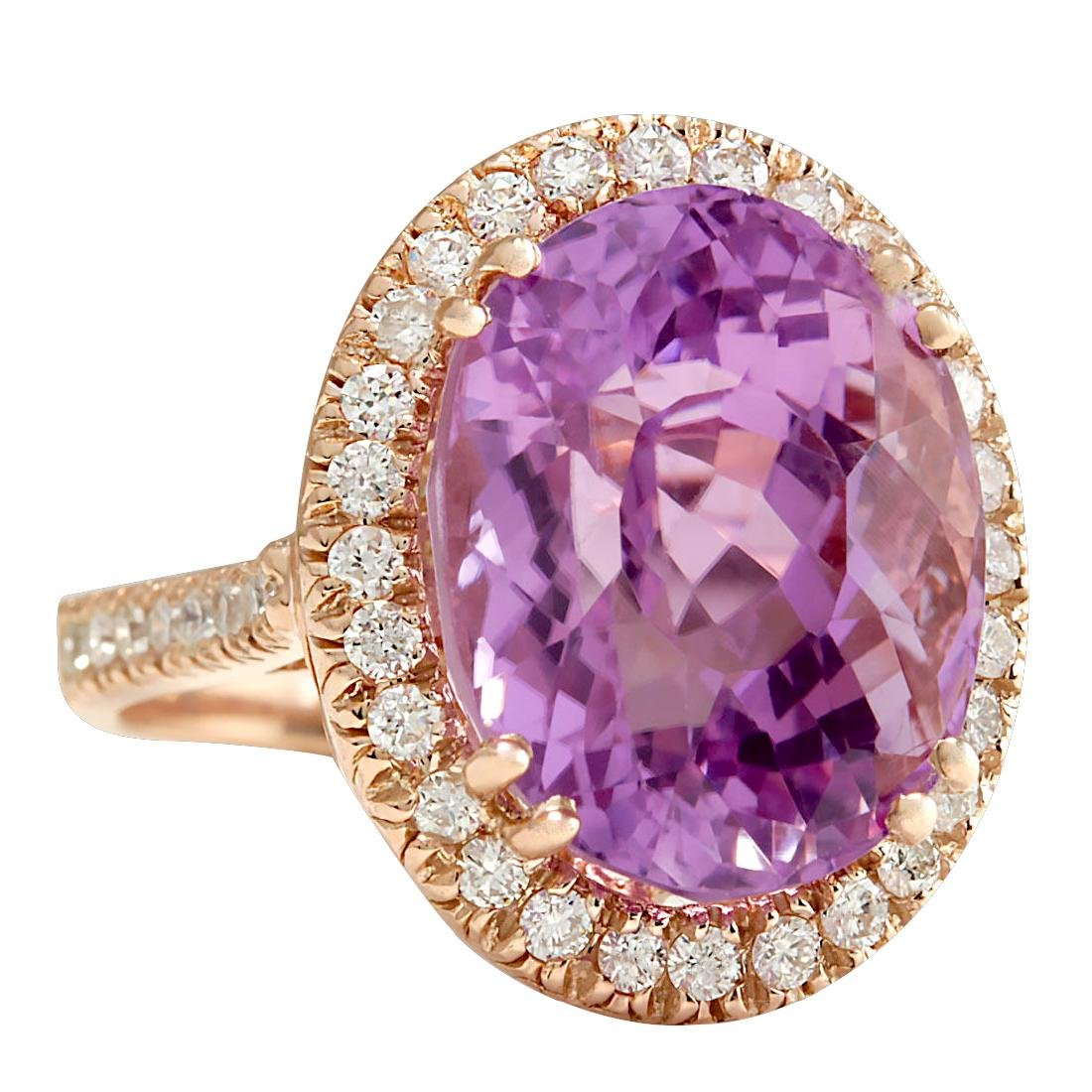 17.68CTW Natural Kunzite And Diamond Ring 18K Solid - 2