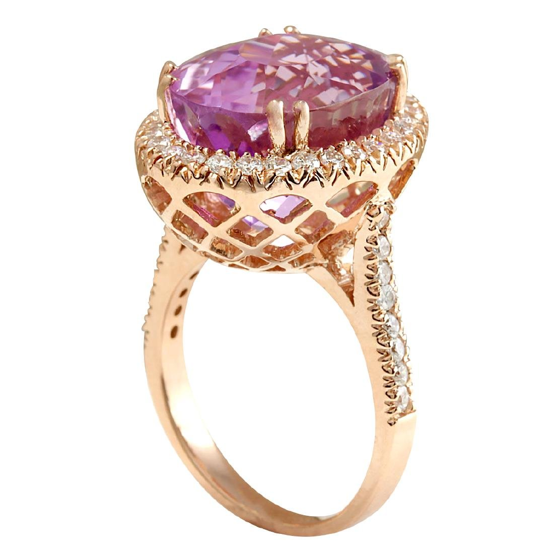 17.68CTW Natural Kunzite And Diamond Ring 18K Solid - 3