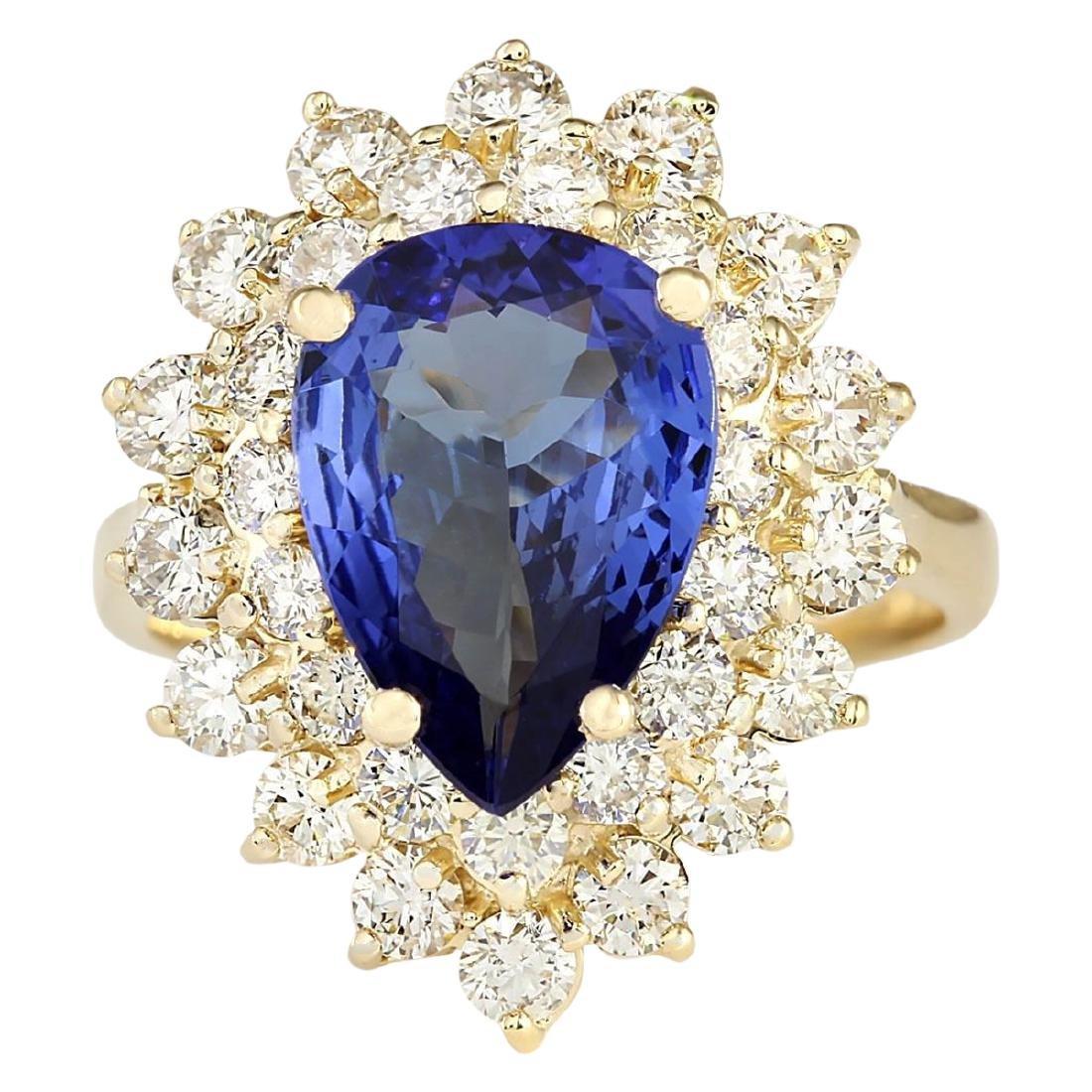 4.73 CTW Natural Blue Tanzanite And Diamond Ring 18K