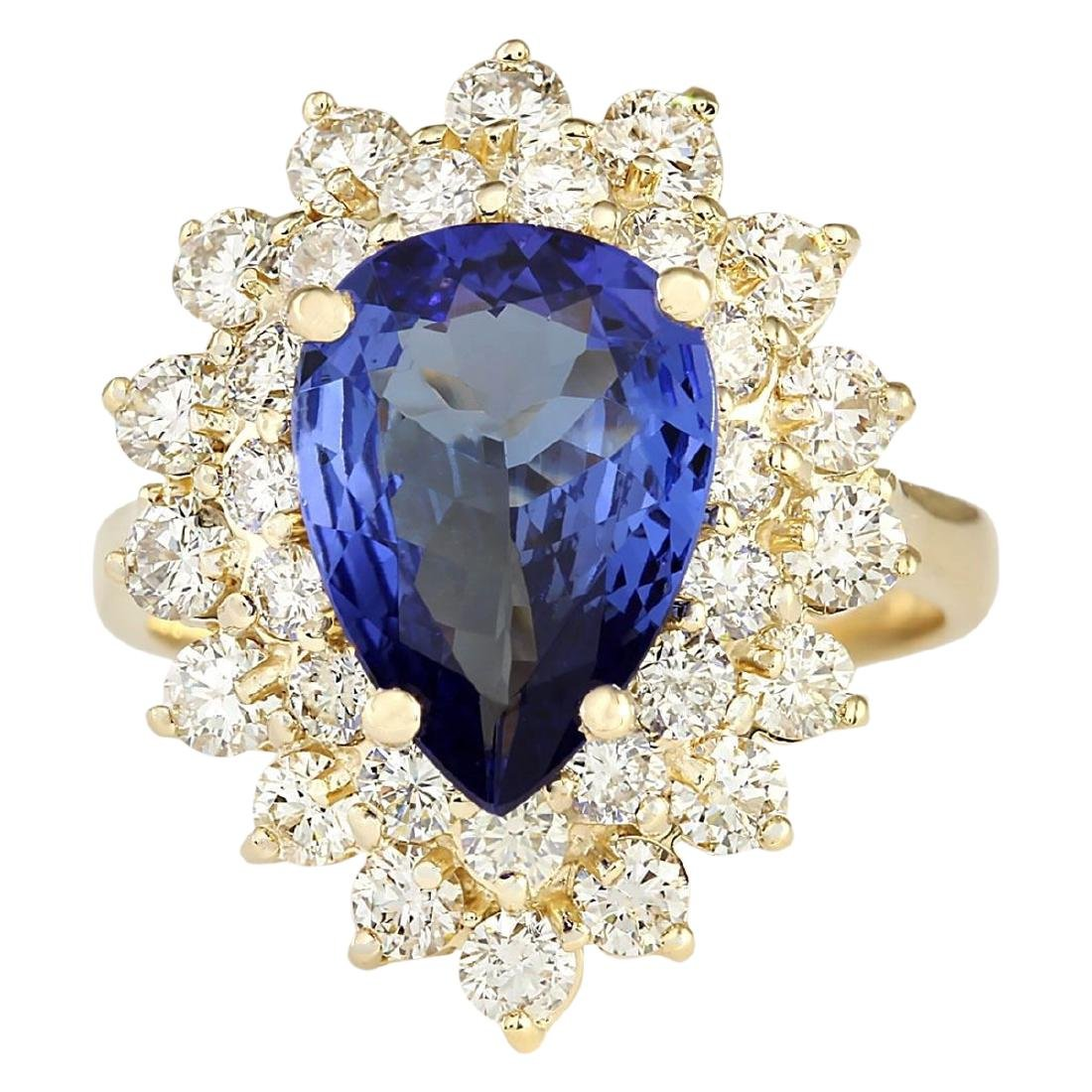4.73 CTW Natural Blue Tanzanite And Diamond Ring 18K