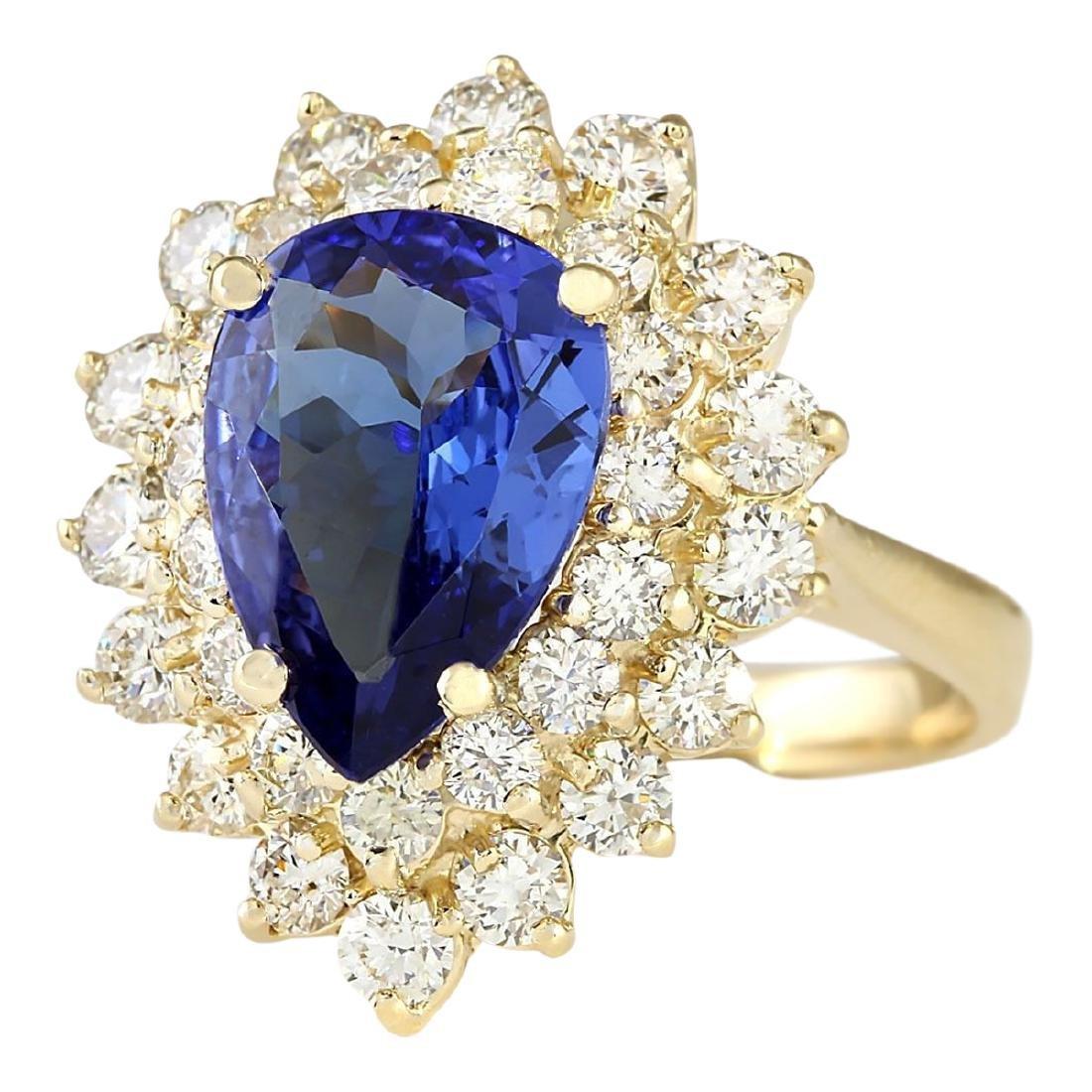 4.73 CTW Natural Blue Tanzanite And Diamond Ring 18K - 2