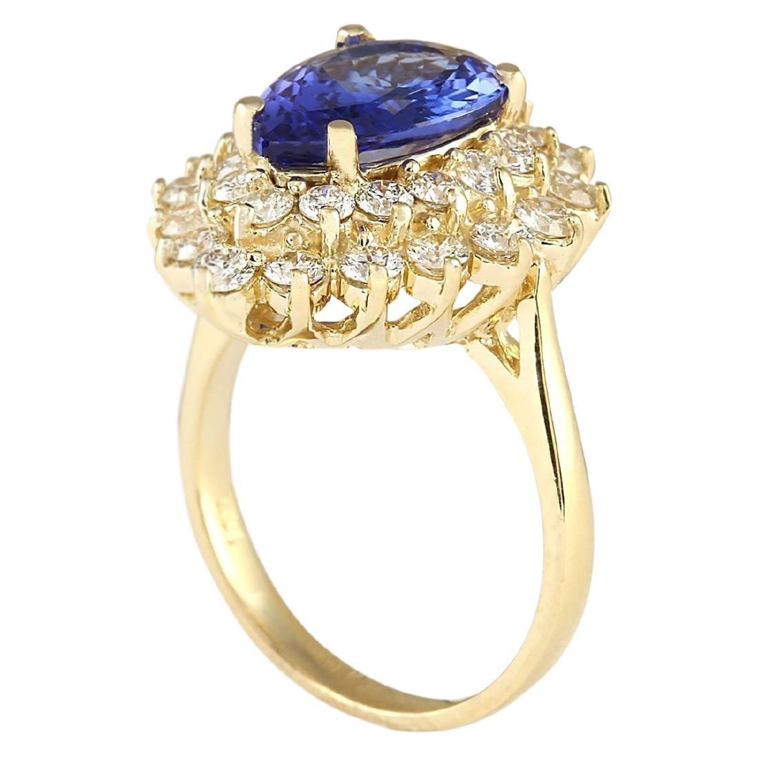 4.73 CTW Natural Blue Tanzanite And Diamond Ring 18K - 3