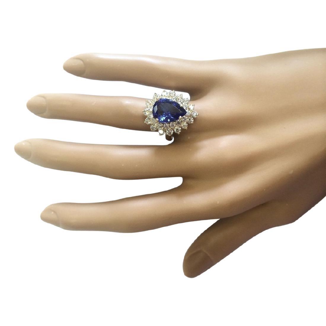 4.73 CTW Natural Blue Tanzanite And Diamond Ring 18K - 4