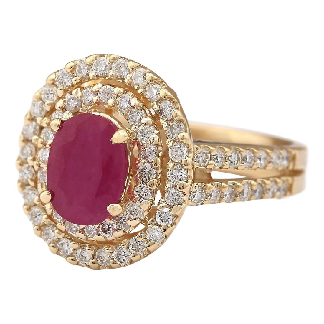 3.08 CTW Natural Ruby Ring In 18K Yellow Gold - 2