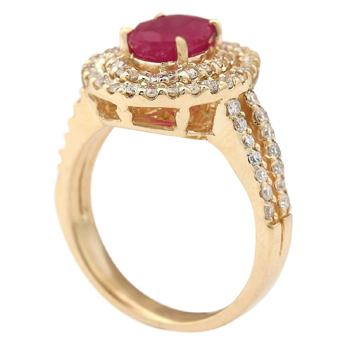 3.08 CTW Natural Ruby Ring In 18K Yellow Gold - 3