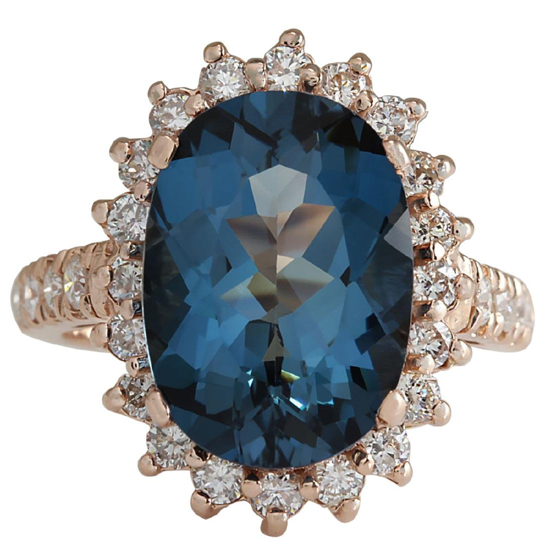 8.34CTW Natural London Blue Topaz And Diamond Ring In
