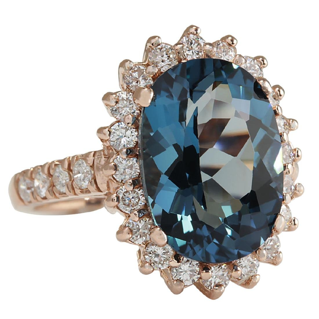 8.34CTW Natural London Blue Topaz And Diamond Ring In - 2