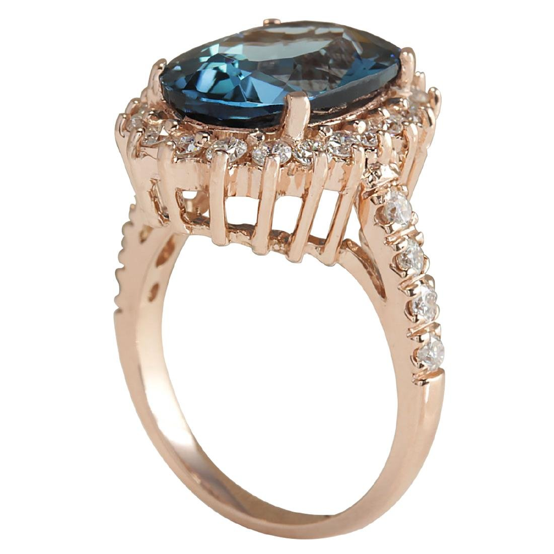 8.34CTW Natural London Blue Topaz And Diamond Ring In - 3
